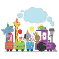 Стикер Детски 20 x 15cm HAPPY ANIMALS in Colorful train