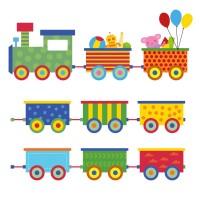 Стикер Детски Train balloon colorful 20cm x 18,5cm