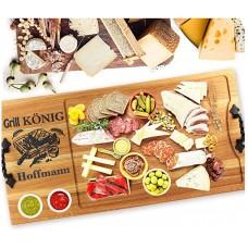 Дъска за мезе - поръчкова с дръжки  60x30 Grill Konig - Пържола. GRILL MELODY