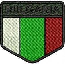 Бълг. Флаг с надпис Bulgaria - стилизиран щит