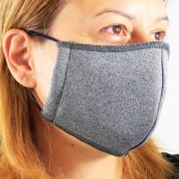 Защитна маска за носа и устата - текстилна - тъмно син меланж