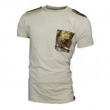 Бежова тениска с пагони 603-18