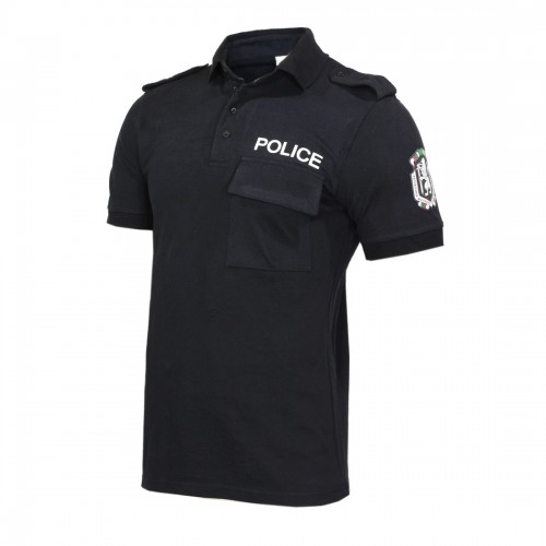 Черна тениска ПОЛИЦИЯ Pike щампа