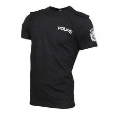 Черна тениска POLICE с пагони щампа