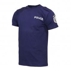 Тъмно синя тениска POLICE с пагони щампа