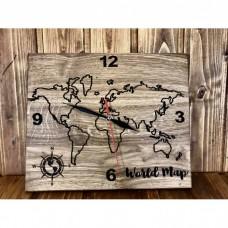 Лазерно гравиран часовник Карта на земното кълбо