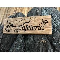 Лазерно гравиранa дървенa табелкa за врата Кафене